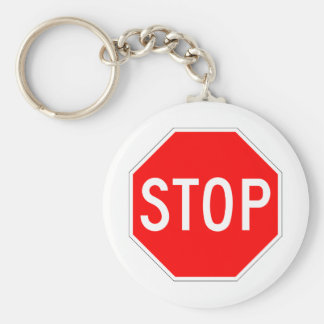 Stop Sign Customizable Basic Round Button Key Ring