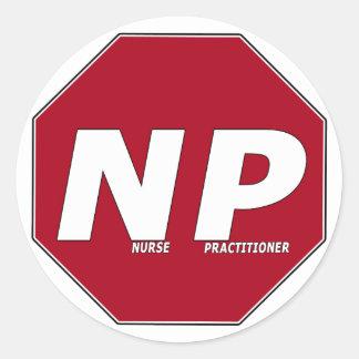 STOP SIGN NP - Nurse Practitioner Round Sticker