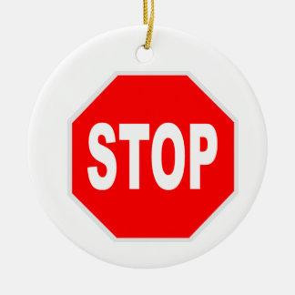 Stop Sign Round Ceramic Decoration
