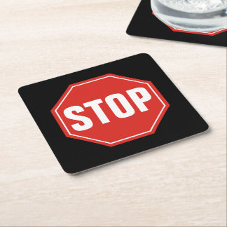 STOP Sign Square Paper Coaster