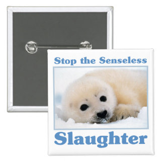 Stop slaughter-seals 15 cm square badge