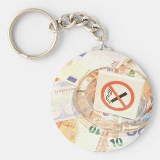 Stop smoking basic round button key ring