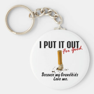 Stop Smoking I Put It Out Grandkids Love Me Basic Round Button Key Ring