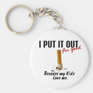 Stop Smoking I Put It Out Kids Love Me Basic Round Button Key Ring