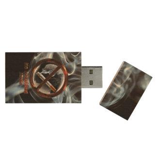 Stop Smoking Wood USB Flash Drive