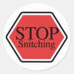 stop snitching round sticker