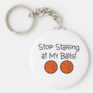 Stop Staring At My Balls (Basketballs) Basic Round Button Key Ring