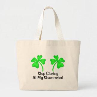 Stop Staring At My Shamrocks Tote Bags