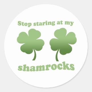 STOP STARING AT MY SHAMROCKS CLASSIC ROUND STICKER