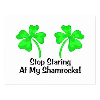 Stop Staring At My Shamrocks Postcard