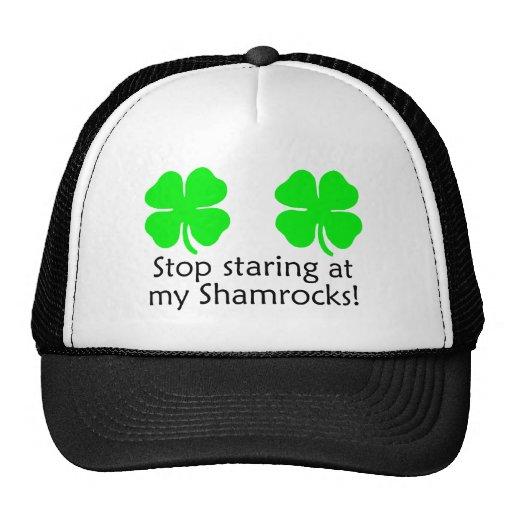 Stop Staring At my Shamrocks St Patricks Day Hat