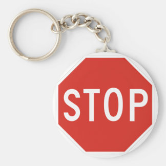 Stop Street Road Sign Symbol Caution Traffic Basic Round Button Key Ring