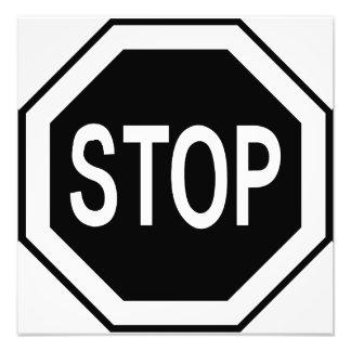 Stop Symbol Sign - Black on White Photographic Print