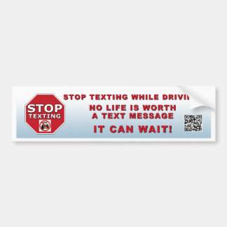 STOP TEXTING Bumper Sticker with QR Code