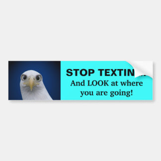 Stop Texting! Eagle Portrait Bumper Sticker