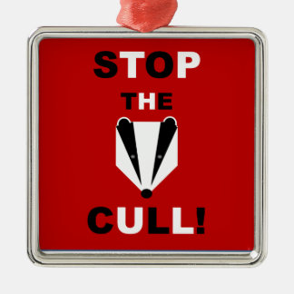 STOP THE BADGER CULL Silver-Colored SQUARE DECORATION