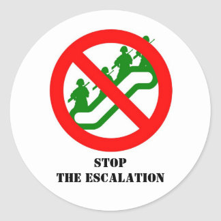 STOP THE ESCALATION ROUND STICKERS