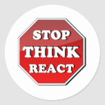 Stop THINK React Round Stickers