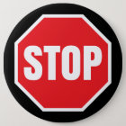 stop traffic sign 6 cm round badge