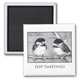 STOP TWEETING: PENCIL ART: BIRDS: FUNNY SQUARE MAGNET