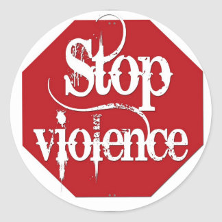 Stop Violence Classic Round Sticker