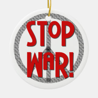 Stop War Peace Symbol T-shirts and Gifts Round Ceramic Decoration
