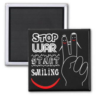 Stop War Start Smiling Peace Sign Funny Drawing Square Magnet