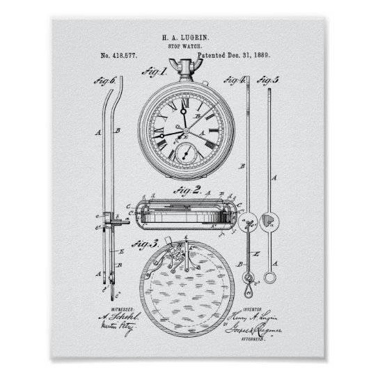 Stop Watch 1889 Patent Art White Paper Poster