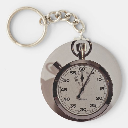 Stop watch basic round button key ring