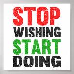 Stop Wishing Start Doing Retro Style Poster