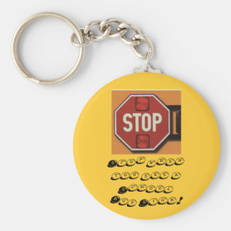 Stoparm, Stop when you see a School Bus Sign! Basic Round Button Key Ring