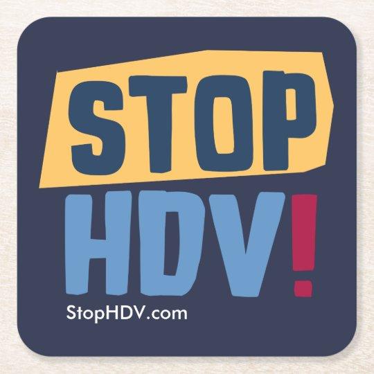 StopHDV.com Square Paper Coaster