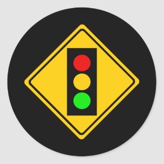 Stoplight Ahead Classic Round Sticker