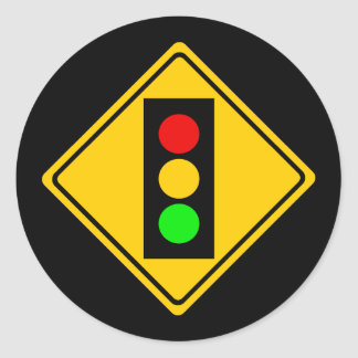 Stoplight Ahead Round Sticker