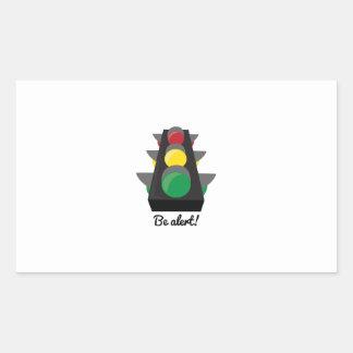 Stoplight_BeAlert Rectangle Sticker