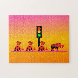 Stoplight with Heart Caravan, Dreamy Background Jigsaw Puzzle
