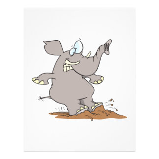stopped in his tracks silly elephant cartoon full color flyer
