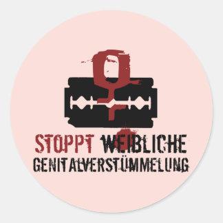 Stoppt weibliche Genitalverstümmelung! Round Stickers