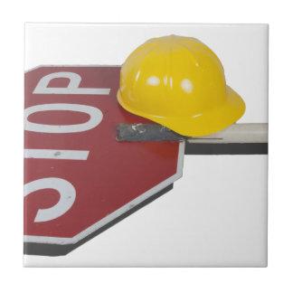 StopSignPoleConstructionHat051913.png Ceramic Tile
