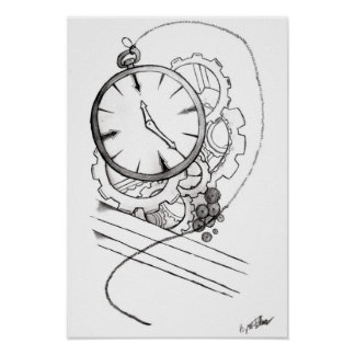 Stopwatch and Gears Poster