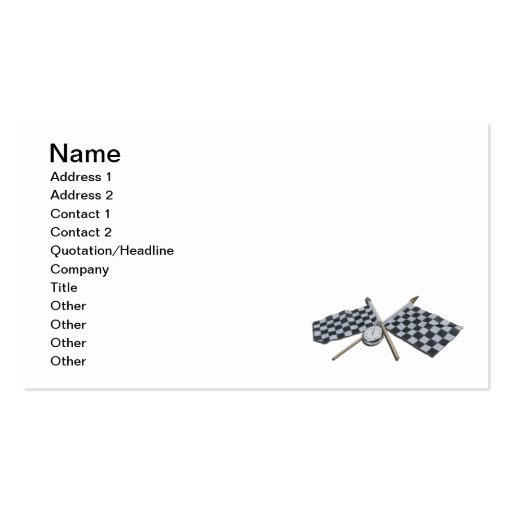 Stopwatch Checkered Flag Business Card Templates