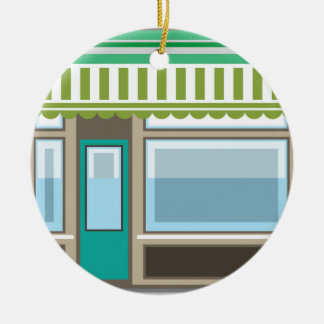 Store Front Vector Christmas Ornament