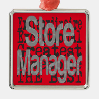Store Manager Extraordinaire Silver-Colored Square Decoration