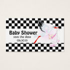 Stork and Chequerboard  Baby Shower Save the Date Business Card