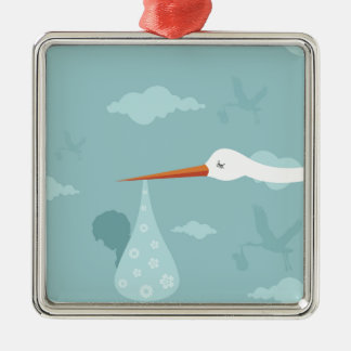 Stork and the kid Silver-Colored square decoration