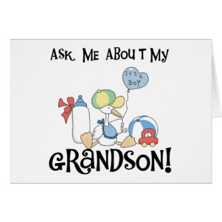 Stork Ask About Grandson Greeting Card