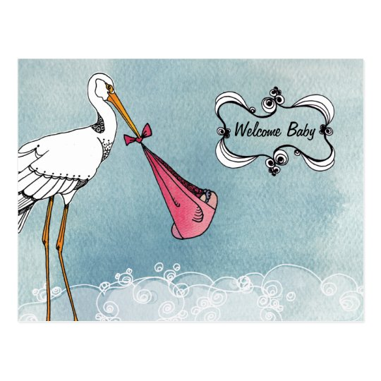 Stork Baby Announcement Postcard