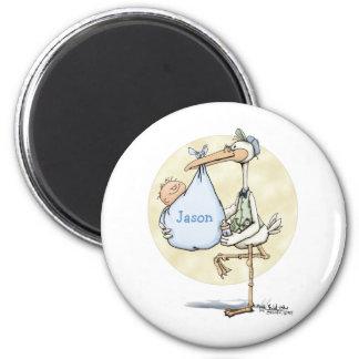 Stork - Baby Boy 6 Cm Round Magnet