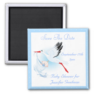 Stork Baby Boy Blue Save the Date Baby Shower Magnets