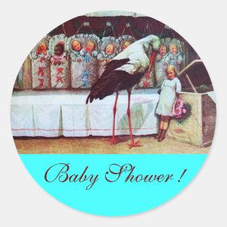 STORK BABY BOY SHOWER 3 turquase Sticker